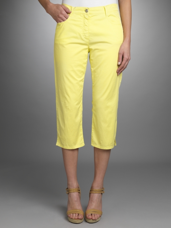 Cropped Trousers, Limelight - style: capri; pocket detail: traditional 5 pocket; length: below the knee; waist: mid/regular rise; predominant colour: primrose yellow; occasions: casual; fibres: cotton - stretch; material texture: jersey; trends: pastels; fit: straight leg; texture group: jersey - stretchy/drapey