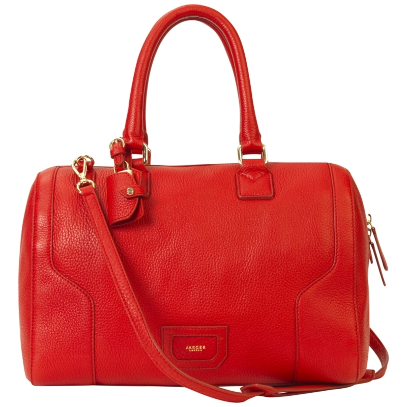 Hastings Bowling Bag, Red - predominant colour: true red; style: bowling; length: shoulder (tucks under arm); size: standard; material: leather
