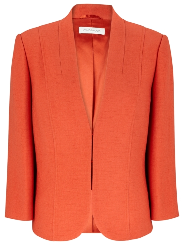 Occasionwear Jacket, Orange - pattern: plain; style: single breasted blazer; fit: slim fit; collar: standard lapel/rever collar; predominant colour: bright orange; length: standard; fibres: polyester/polyamide - mix; material texture: sateen; occasions: occasion; trends: brights; sleeve length: 3/4 length; sleeve style: standard; texture group: structured shiny - satin/tafetta/silk etc.; collar break: low/open; pattern type: fabric; pattern size: standard