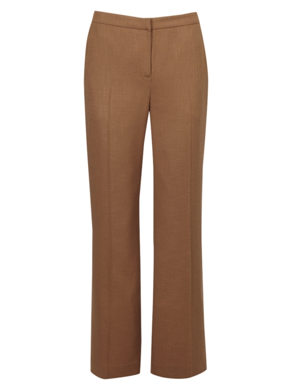 "Linen Look Trousers, 30"", Tobacco - length: standard; waist detail: fitted waist; waist: mid/regular rise; predominant colour: tan; occasions: work; fibres: polyester/polyamide - mix; material texture: silky; texture group: silky - light; fit: straight leg; style: standard"