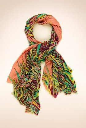 Tropical Palm Leaf Print Lightweight Scarf - predominant colour: multicoloured; type of pattern: heavy; style: skinny; size: standard; material: fabric; pattern: florals, picture design, patterned/print