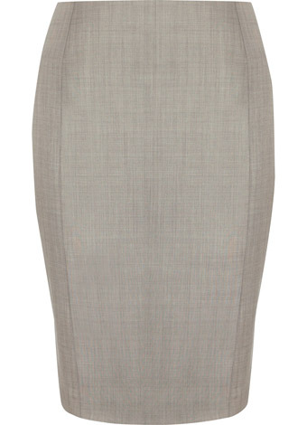 Natural Sharkskin Skirt - pattern: plain; style: pencil; fit: tailored/fitted; waist: mid/regular rise; predominant colour: mid grey; occasions: work; length: on the knee; fibres: wool - 100%; material texture: jersey; pattern type: fabric; pattern size: standard; texture group: jersey - stretchy/drapey