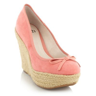 Light Pink Woven Wedge Shoes - predominant colour: pink; material: suede; heel height: high; embellishment: ribbon; heel: wedge; toe: round toe; style: courts