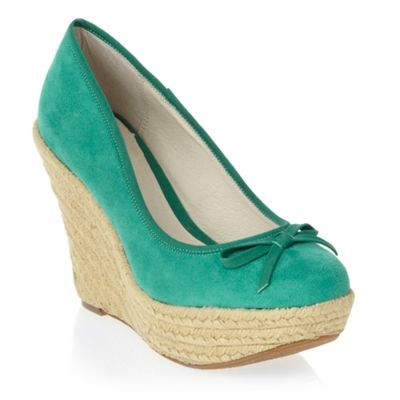 Green Woven Wedge Shoes - predominant colour: emerald green; material: fabric; heel height: high; heel: wedge; toe: round toe; style: courts