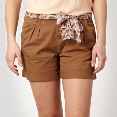 Tan Scarf Belt Shorts - style: shorts; pocket detail: small back pockets, pockets at the sides; waist detail: belted waist/tie at waist/drawstring; length: short shorts; waist: mid/regular rise; predominant colour: tan; occasions: casual; fibres: cotton - 100%; hip detail: front pleats at hip level; fit: straight leg