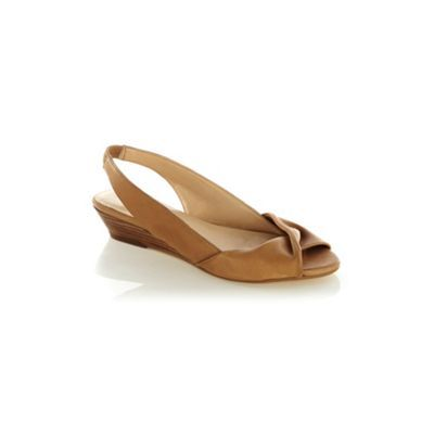 Twist Front Mini Wedge - predominant colour: tan; material: leather; heel height: mid; ankle detail: ankle strap; heel: wedge; toe: open toe/peeptoe; style: slingbacks