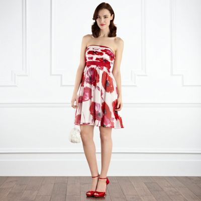 Bluebell Dress D - neckline: strapless (straight/sweetheart); pattern: floral - busy, florals; sleeve style: strapless; waist detail: fitted waist; style: strapless; predominant colour: true red; occasions: evening, occasion; length: just above the knee; fit: body skimming; fibres: polyester/polyamide - 100%; material texture: chiffon; trends: prints; sleeve length: sleeveless; texture group: sheer fabrics/chiffon/organza etc.; pattern type: fabric; pattern size: small & busy
