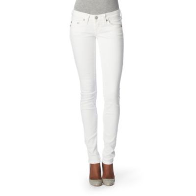 Stella Skinny Jeans - style: skinny leg; length: standard; pattern: plain; waist: low rise; pocket detail: traditional 5 pocket; predominant colour: white; occasions: casual; fibres: cotton - stretch; material texture: denim; trends: white; texture group: denim; pattern type: fabric; pattern size: standard