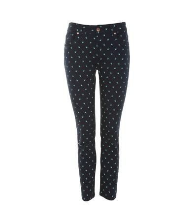 Printed 7/8 Length Jeans - style: skinny leg; pattern: print, small polka dot, polka dot, patterned/print; pocket detail: traditional 5 pocket; waist: mid/regular rise; predominant colour: navy; occasions: casual; length: ankle length; fibres: cotton - stretch; material texture: denim; trends: prints; texture group: denim; pattern type: fabric; pattern size: small & busy