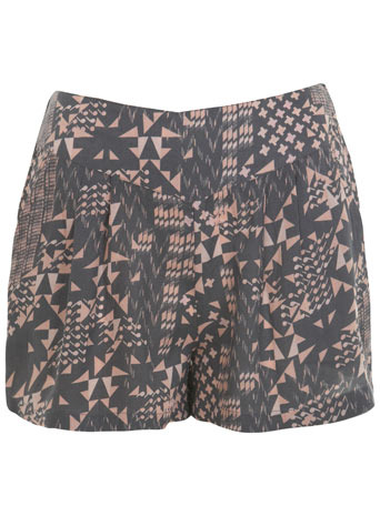 Geo Print Short - style: shorts; waist detail: fitted waist, wide waistband/cummerbund; pocket detail: pockets at the sides; length: short shorts; waist: mid/regular rise; predominant colour: mid grey; occasions: casual, evening; fibres: polyester/polyamide - 100%; material texture: denim; hip detail: front pleats at hip level; trends: prints; texture group: denim; fit: baggy