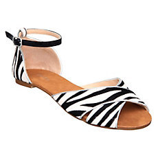 Jupiterd Animal Print Pony Flat Sandal - predominant colour: black; material: leather; heel height: flat; embellishment: animal print, buckles; ankle detail: ankle strap; heel: standard; toe: open toe/peeptoe; style: standard; pattern: animal print