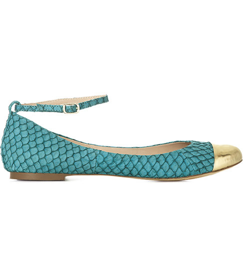 Alicia Toe Cap Ballerina Pumps - predominant colour: turquoise; material: leather; heel height: flat; embellishment: animal print, buckles; ankle detail: ankle strap; toe: round toe; style: ballerinas / pumps; pattern: animal print