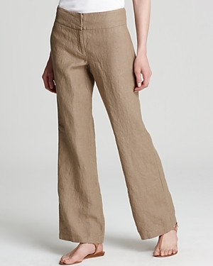 Linen Wide Leg Trousers - length: standard; waist detail: wide waistband/cummerbund; waist: mid/regular rise; predominant colour: camel; occasions: casual, work; fibres: linen - 100%; material texture: denim; texture group: denim; fit: wide leg; style: standard