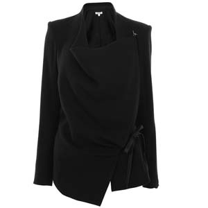 Cashmere Wrap Jacket - pattern: plain; style: single breasted blazer; shoulder detail: shoulder pads; bust detail: added detail/embellishment at bust; collar: asymmetric biker; predominant colour: black; occasions: casual, work; length: standard; fit: straight cut (boxy); material texture: sateen; waist detail: belted waist/tie at waist/drawstring; fibres: cashmere - 100%; sleeve length: long sleeve; sleeve style: standard; texture group: structured shiny - satin/tafetta/silk etc.; collar break: high/illusion of break when open; pattern type: fabric; pattern size: standard