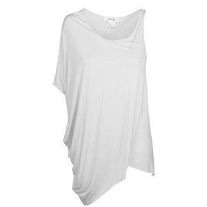 Silk Jersey Asymmetric Top - pattern: plain; sleeve style: asymmetric sleeve; length: below the bottom; waist detail: twist front waist detail/nipped in at waist on one side/soft pleats/draping/ruching/gathering waist detail; predominant colour: white; occasions: casual; style: top; neckline: scoop; fibres: silk - mix; material texture: jersey; fit: body skimming; hip detail: soft pleats at hip/draping at hip/flared at hip; shoulder detail: asymmetric shoulder detail/one shoulder; trends: white; sleeve length: short sleeve; pattern type: fabric; pattern size: standard; texture group: jersey - stretchy/drapey