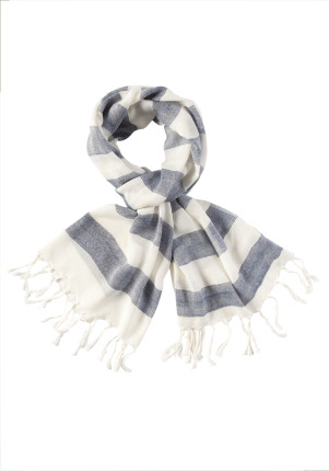 Woven Stripe Scarf - predominant colour: mid grey; type of pattern: standard; style: regular; size: standard; material: fabric; embellishment: tassels; pattern: horizontal stripes