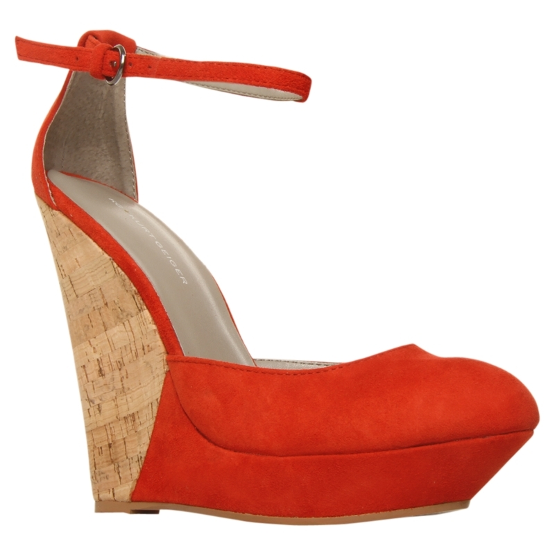 Jemima Suede Wedge Sandals, Red - predominant colour: true red; material: suede; heel height: high; embellishment: buckles; ankle detail: ankle strap; heel: wedge; style: standard