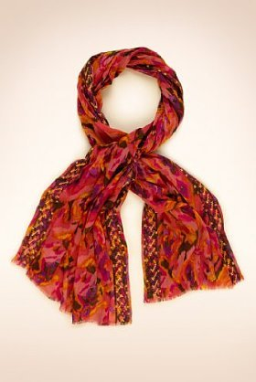 Pure Cotton Lightweight Space Dye Embroidered Scarf - predominant colour: true red; type of pattern: heavy; style: skinny; material: fabric; pattern: graphic print, patterned/print