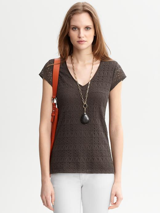 Lace V Neck Tee - neckline: v-neck; pattern: plain, lace; waist detail: fitted waist; style: t-shirt; predominant colour: chocolate brown; occasions: casual, work; length: standard; fibres: polyester/polyamide - mix; material texture: lace; fit: body skimming; sleeve length: short sleeve; sleeve style: standard; texture group: lace; pattern type: fabric; pattern size: standard