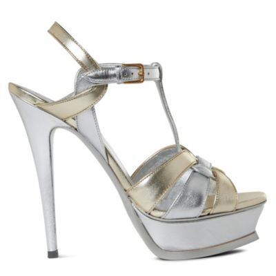 Tribute Metallic Platform Sandals - predominant colour: silver; material: leather; heel height: high; ankle detail: ankle strap; heel: platform; toe: open toe/peeptoe; style: strappy