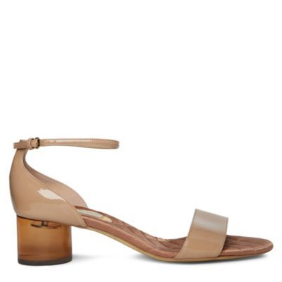 Frenzy Sandals - predominant colour: champagne; material: patent; heel height: mid; ankle detail: ankle strap; heel: block; toe: open toe/peeptoe; style: standard; finish: patent