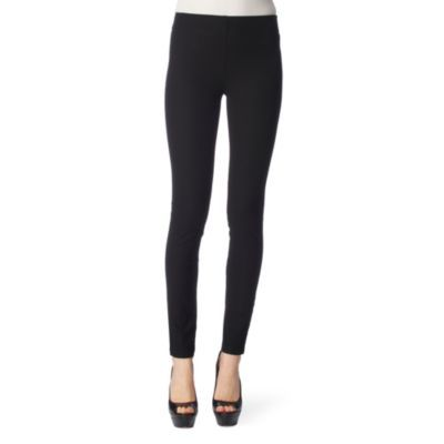 Gabardine Leggings - length: standard; style: leggings; waist detail: elasticated waist; waist: mid/regular rise; predominant colour: black; occasions: casual, evening; fibres: cotton - stretch; material texture: jersey; hip detail: fitted at hip (bottoms); texture group: jersey - stretchy/drapey