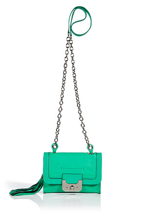 Jade Mini Harper Bag With Chain Strap - predominant colour: mint green; style: shoulder; length: across body/long; size: mini; material: leather; embellishment: tassels; pattern: plain