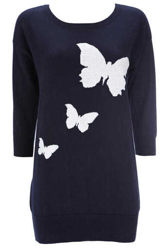 Navy Butterfly Tunic - pattern: lightly patterned, print, picture design, patterned/print; length: below the bottom; style: standard; hip detail: fitted at hip, fitted hem at hip; predominant colour: navy; occasions: casual; neckline: scoop; fibres: cotton - 100%; material texture: jersey; trends: prints; sleeve length: 3/4 length; sleeve style: standard; pattern type: knitted - other; pattern size: small & light; texture group: jersey - stretchy/drapey