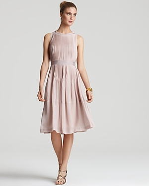 Dress   Cadrian L. Lure - style: shift; length: below the knee; neckline: round neck; fit: fitted at waist; pattern: plain; sleeve style: sleeveless; waist detail: fitted waist, narrow waistband; predominant colour: blush; occasions: evening, occasion; fibres: polyester/polyamide - 100%; material texture: chiffon; sleeve length: sleeveless; texture group: sheer fabrics/chiffon/organza etc.; pattern type: fabric; pattern size: standard