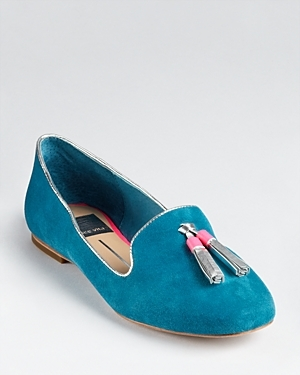 Smoking Shoes Nalla Tassel - predominant colour: teal; material: suede; heel height: flat; embellishment: tassels; toe: round toe; style: ballerinas / pumps