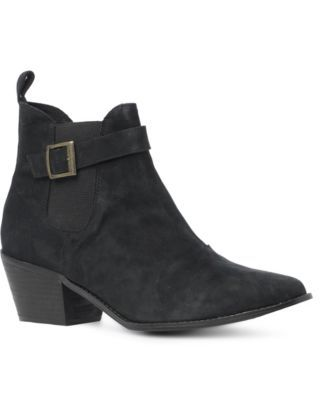 Leather Western Style Boot - predominant colour: black; material: suede; heel height: mid; embellishment: buckles; heel: block; toe: pointed toe; boot length: ankle boot; style: cowboy