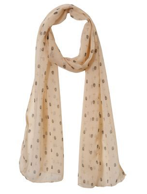 Biscuit Skull Print Skinny Chiffon Scarf - predominant colour: nude; type of pattern: small; style: skinny; size: standard; material: fabric; pattern: graphic print, picture design, patterned/print