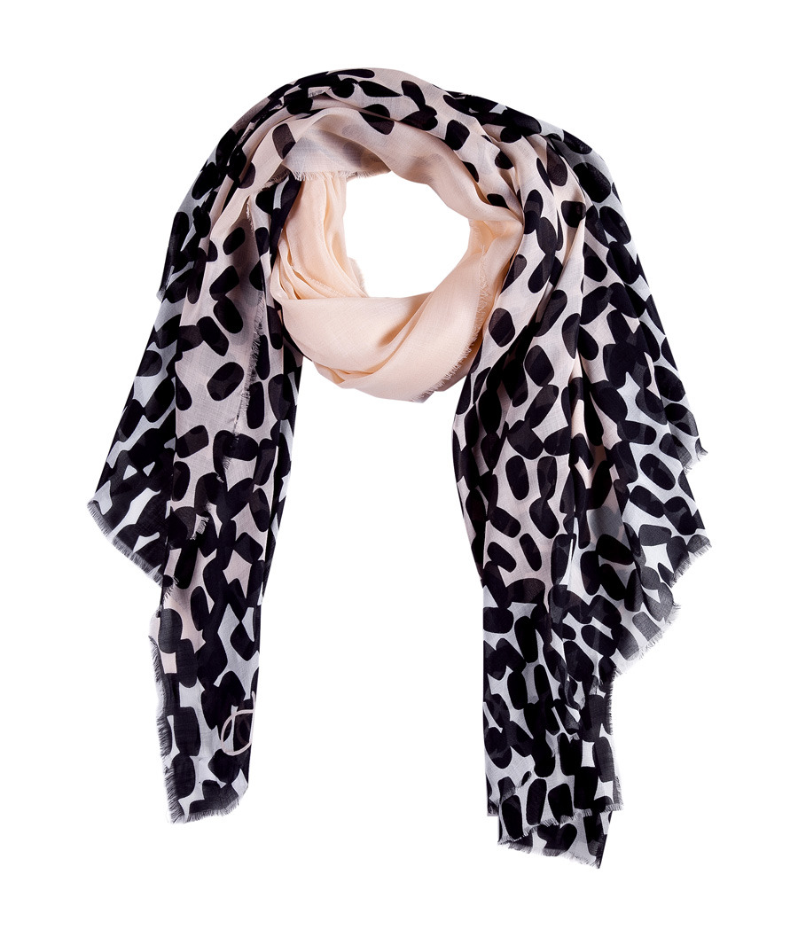 Nude Droplets Campbell 40/70 Scarf - predominant colour: black; type of pattern: heavy; style: skinny; size: standard; material: fabric; pattern: abstract, animal print, graphic print, patterned/print
