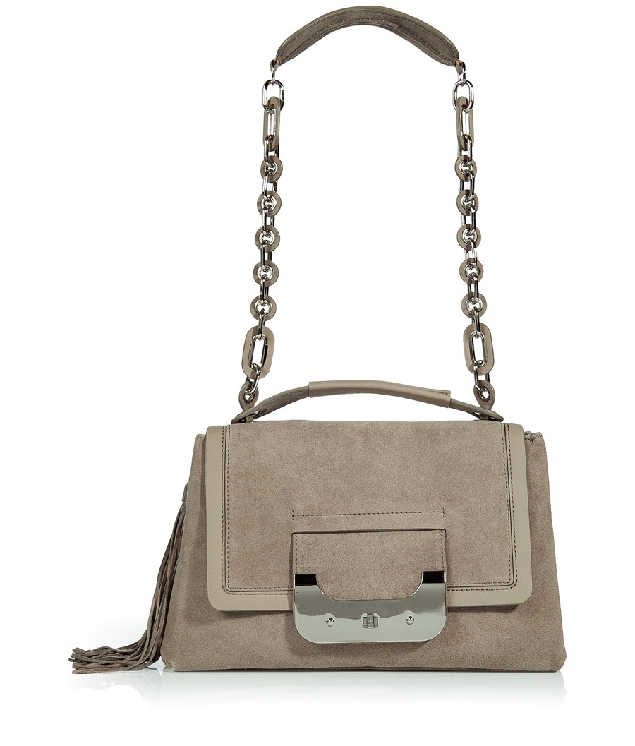 Truffle Suede Harper Daybag - predominant colour: taupe; style: shoulder; length: handle; size: standard; material: suede; embellishment: tassels; pattern: metallic, plain; finish: metallic