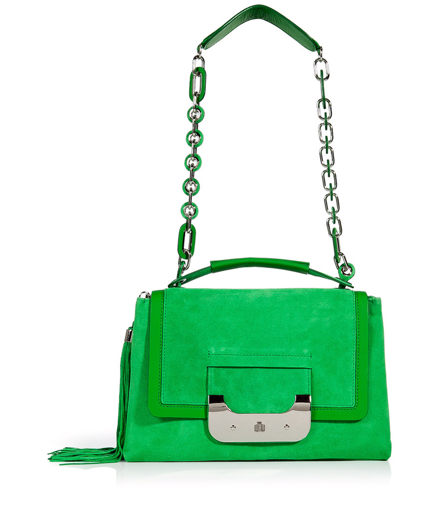 Turf Green Suede Harper Daybag - predominant colour: emerald green; style: shoulder; length: handle; size: standard; material: suede; embellishment: tassels; pattern: plain