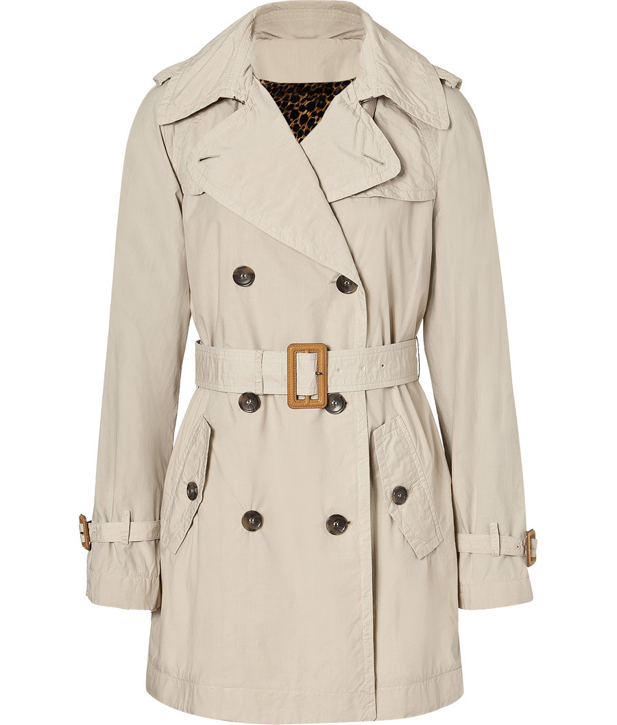 Beige Cotton Trench Coat - pattern: plain; length: below the bottom; shoulder detail: obvious epaulette; hip detail: side pockets at hip; collar: wide lapels; style: double breasted; fit: slim fit; predominant colour: stone; occasions: casual, work; fibres: cotton - mix; material texture: waxed cotton; waist detail: belted waist/tie at waist/drawstring; sleeve length: long sleeve; sleeve style: standard; texture group: waxed cotton; pattern type: fabric; pattern size: standard