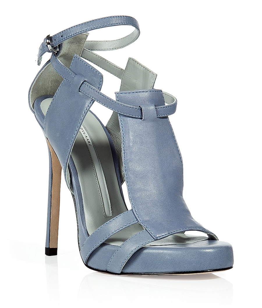 Sky Blue Three Panel Stiletto Sandals - predominant colour: pale blue; material: leather; heel height: high; embellishment: buckles; ankle detail: ankle strap; heel: stiletto; toe: open toe/peeptoe; style: strappy