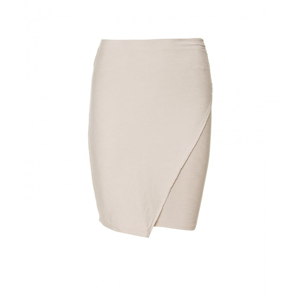 Sarong Mini Skirt - pattern: plain; style: wrap/faux wrap; fit: tight; waist detail: fitted waist; hip detail: fitted at hip; waist: mid/regular rise; predominant colour: ivory; occasions: casual, evening, work; length: just above the knee; fibres: cotton - stretch; material texture: jersey; pattern type: fabric; pattern size: standard; texture group: jersey - stretchy/drapey