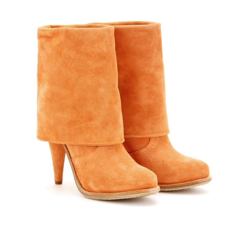 Coachella Fold Over Suede Boots - predominant colour: bright orange; material: suede; heel height: high; heel: cone; toe: round toe; boot length: mid calf; style: standard