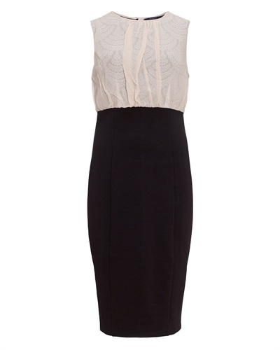 Ted Baker   Savoir   Lace Detail Dress - style: shift; neckline: round neck; fit: tailored/fitted; pattern: plain, two-tone; sleeve style: sleeveless; predominant colour: black; occasions: evening; length: just above the knee; fibres: polyester/polyamide - mix; material texture: lace; bust detail: contrast pattern/fabric/detail at bust; sleeve length: sleeveless; texture group: lace; pattern type: fabric; pattern size: standard