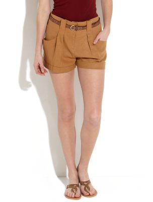 Chestnut Linen Belted Shorts - style: shorts; hip detail: front pockets at hip, front pleats at hip level; pocket detail: pockets at the sides; waist detail: belted waist/tie at waist/drawstring; length: short shorts; waist: mid/regular rise; predominant colour: tan; occasions: casual; fibres: linen - mix; jeans & bottoms detail: turn ups; material texture: silky; texture group: silky - light; fit: slim leg