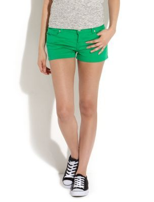 Green Hotpant Shorts - style: shorts; pocket detail: traditional 5 pocket; length: short shorts; waist: mid/regular rise; predominant colour: emerald green; occasions: casual; fibres: cotton - stretch; material texture: denim; waist detail: narrow waistband; trends: brights; texture group: denim; fit: slim leg