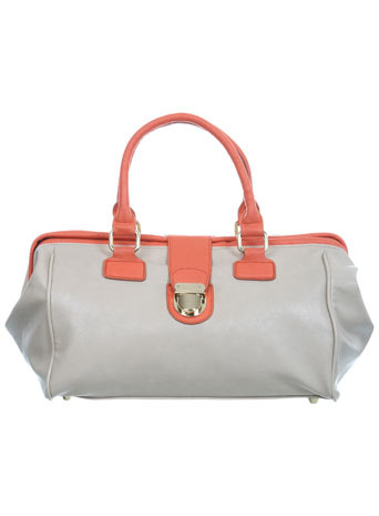 Contrast Handled Bag - predominant colour: ivory; style: doctor's bag; length: handle; size: standard; material: faux leather; pattern: two-tone
