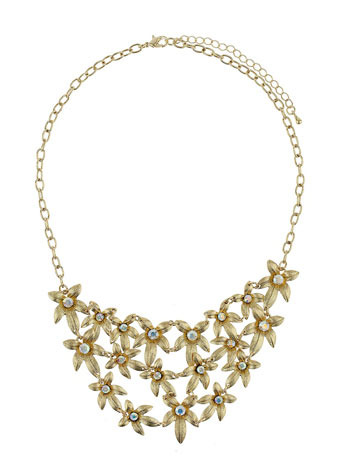 Gold Flower Cluster Necklace - predominant colour: gold; style: bib; length: short; size: large/oversized; material: chain/metal