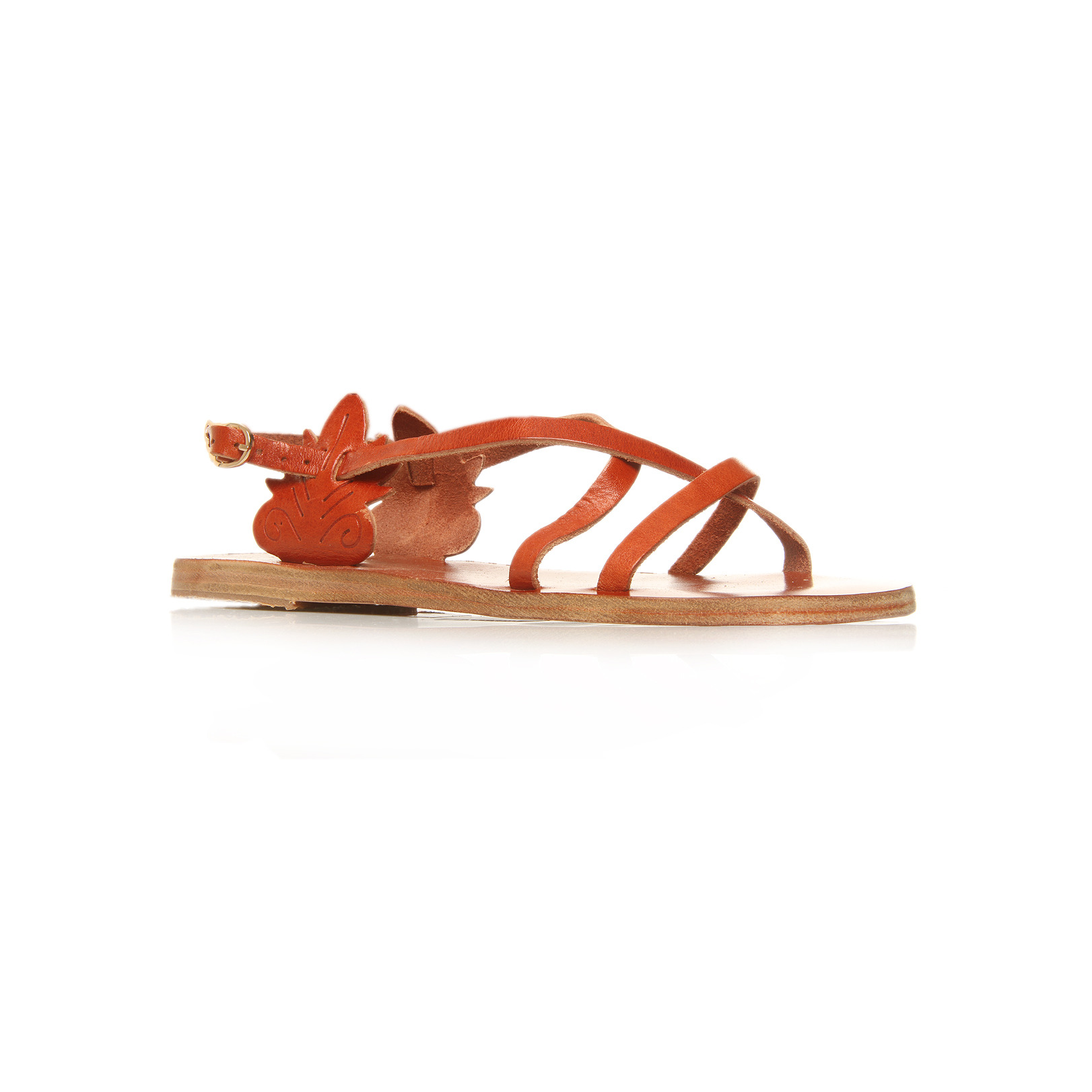 Athena - predominant colour: terracotta; material: leather; heel height: flat; ankle detail: ankle strap; heel: standard; toe: open toe/peeptoe; style: strappy