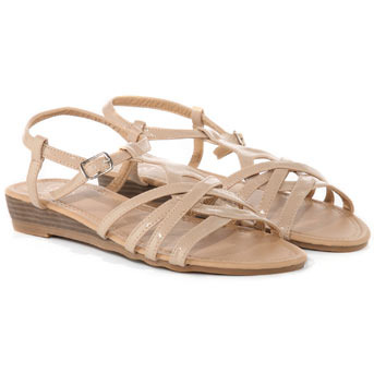 Nude Patent Low Wedge Strap Sandals - predominant colour: nude; material: patent; heel height: mid; ankle detail: ankle strap; heel: wedge; toe: open toe/peeptoe; style: strappy; finish: patent
