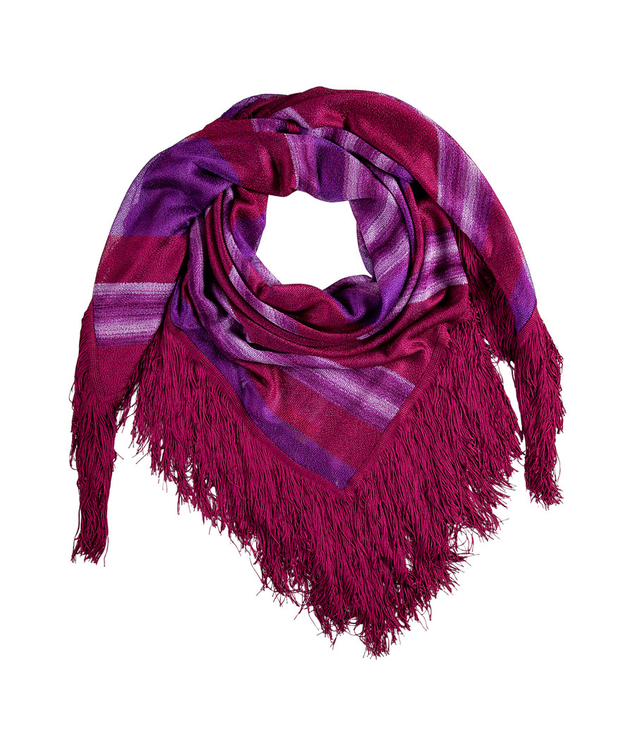 Fuchsia/Lavender Fringed Scarf - predominant colour: purple; type of pattern: heavy; style: regular; size: standard; material: fabric; embellishment: fringing; pattern: checked/gingham