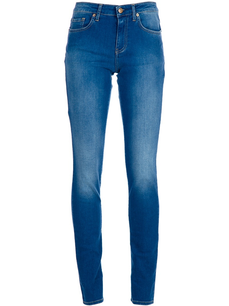 Skinny Jeans - style: skinny leg; length: standard; pattern: plain; pocket detail: traditional 5 pocket; waist: mid/regular rise; predominant colour: denim; occasions: casual; fibres: cotton - stretch; material texture: denim; jeans detail: shading down centre of thigh, washed/faded; trends: aquatic; texture group: denim; pattern type: fabric; pattern size: standard