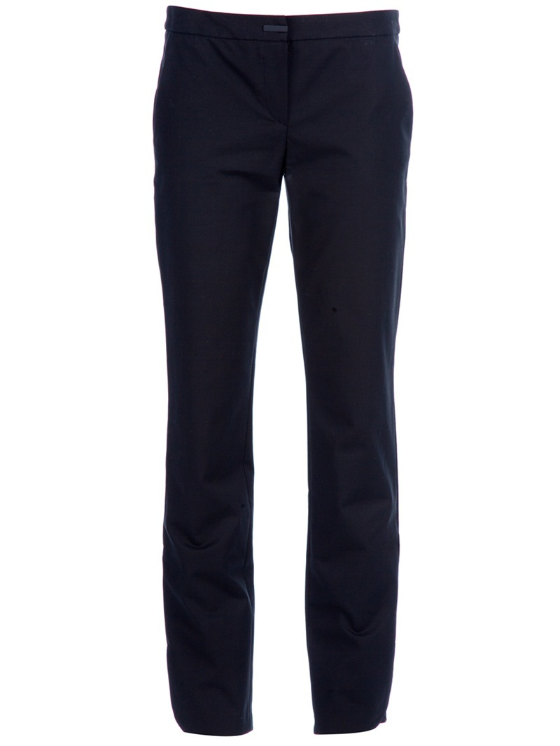 Ankle Trouser - waist detail: fitted waist, narrow waistband; pocket detail: small back pockets, pockets at the sides; waist: mid/regular rise; predominant colour: black; occasions: casual, evening, work; length: ankle length; fibres: cotton - mix; material texture: jersey; hip detail: fitted at hip (bottoms); fit: slim leg; texture group: jersey - stretchy/drapey; style: standard