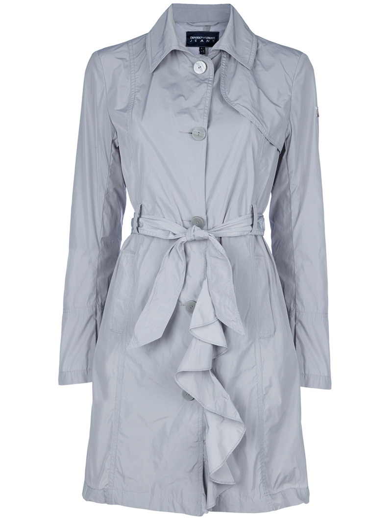 Ruffle Trench - pattern: plain; hip detail: side pockets at hip; style: trench coat; fit: slim fit; collar: standard lapel/rever collar; length: mid thigh; predominant colour: light grey; occasions: casual, work; fibres: polyester/polyamide - 100%; material texture: calico; waist detail: fitted waist, belted waist/tie at waist/drawstring; trends: pastels; sleeve length: long sleeve; sleeve style: standard; texture group: cotton feel fabrics; collar break: medium; pattern type: fabric; pattern size: standard